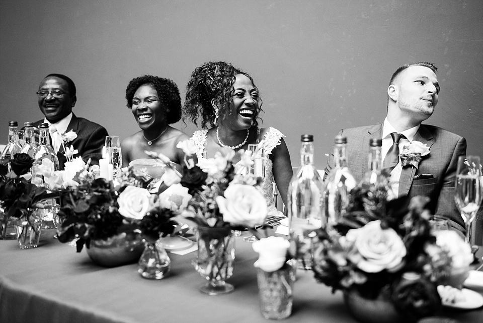 Laughter during wedding speech Surrey