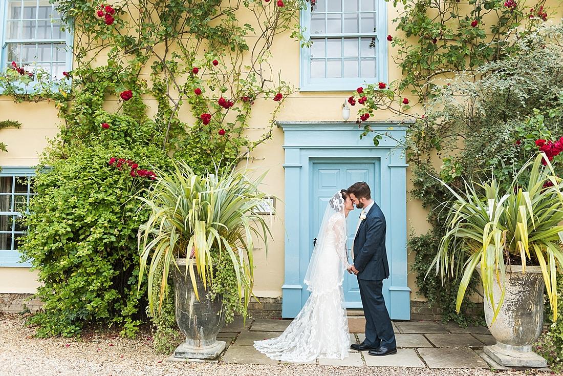 Pretty rustic outdoor wedding portrait South Farm Cambridgeshire