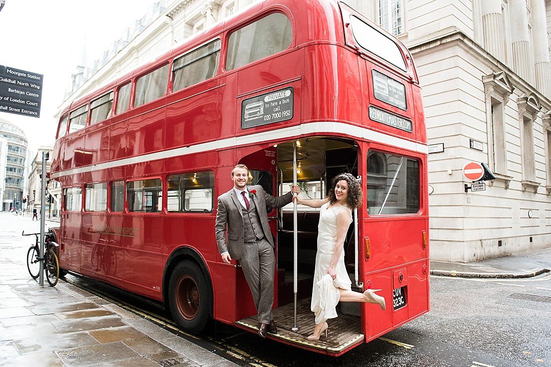 Fun wedding transport city wedding portrait