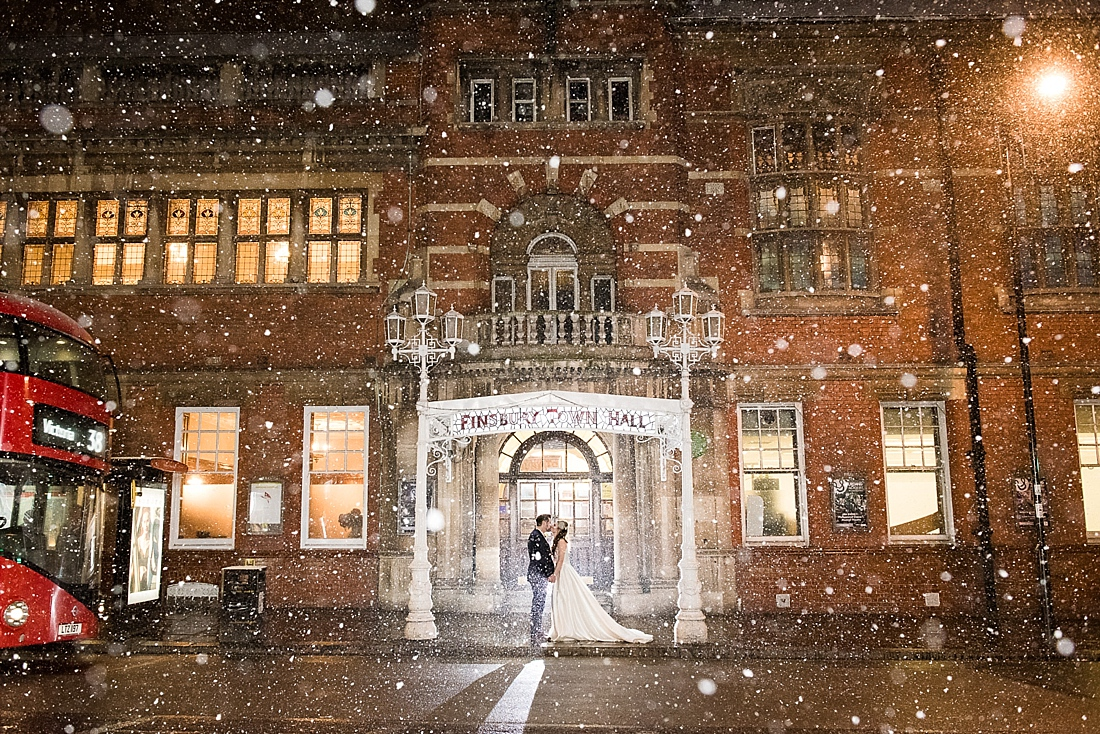 Snowing wedding portrait urban wedding photography