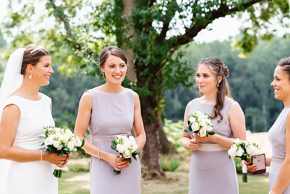 Sleeveless lilac bridemaid dresses