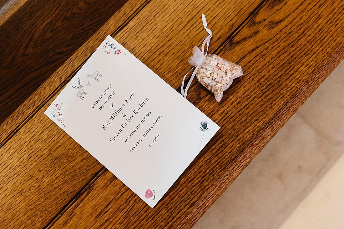Simple elegant wedding stationery Surrey