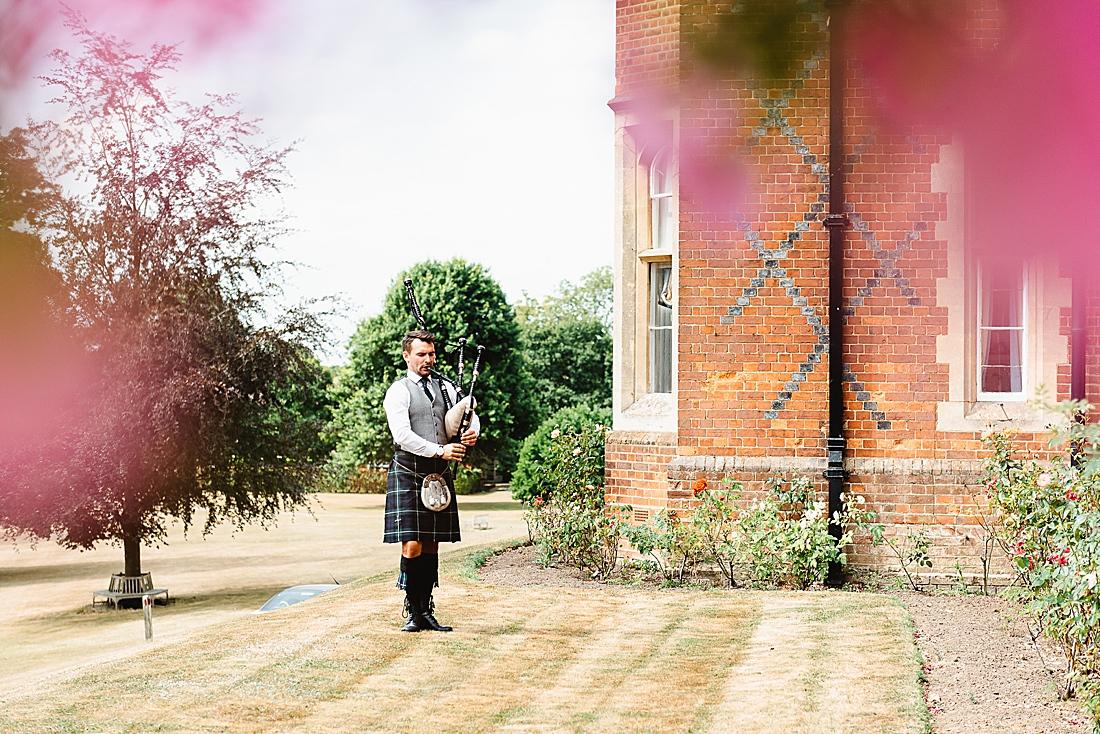 Solo bagpipe player Surrey wedding