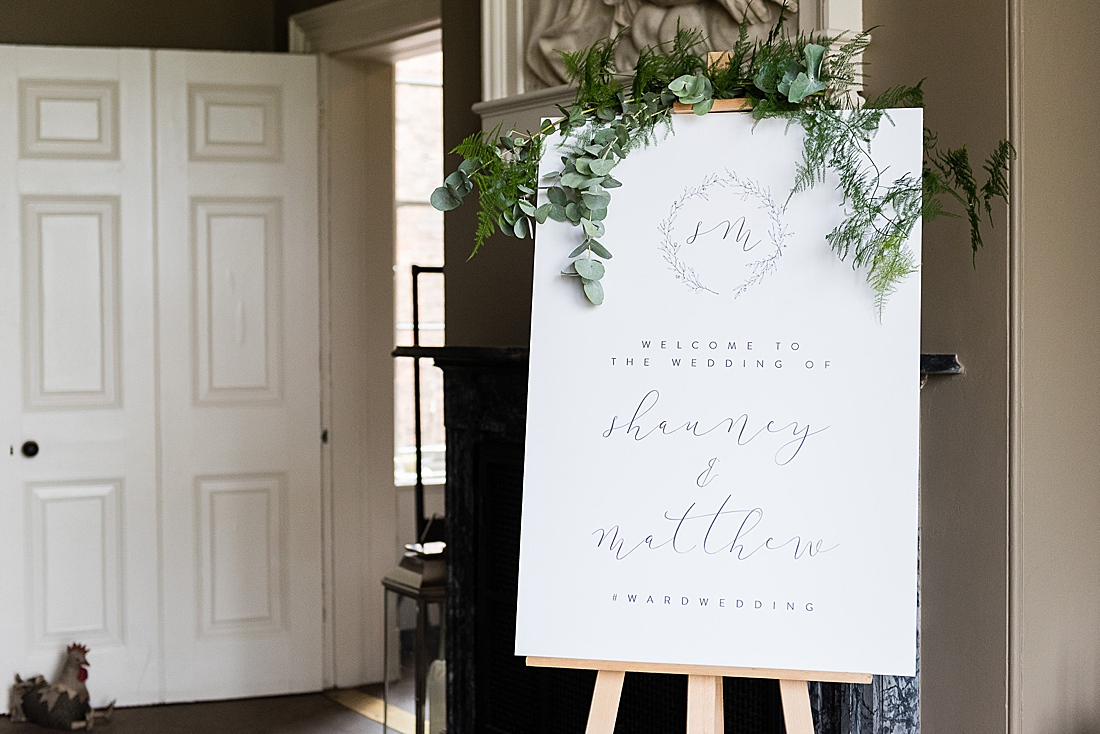 green and white calligraphy wedding welcome sign yorkshire