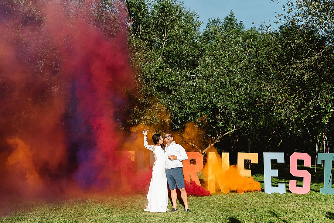 coloured smoke bomb festival wedding hertfordshire
