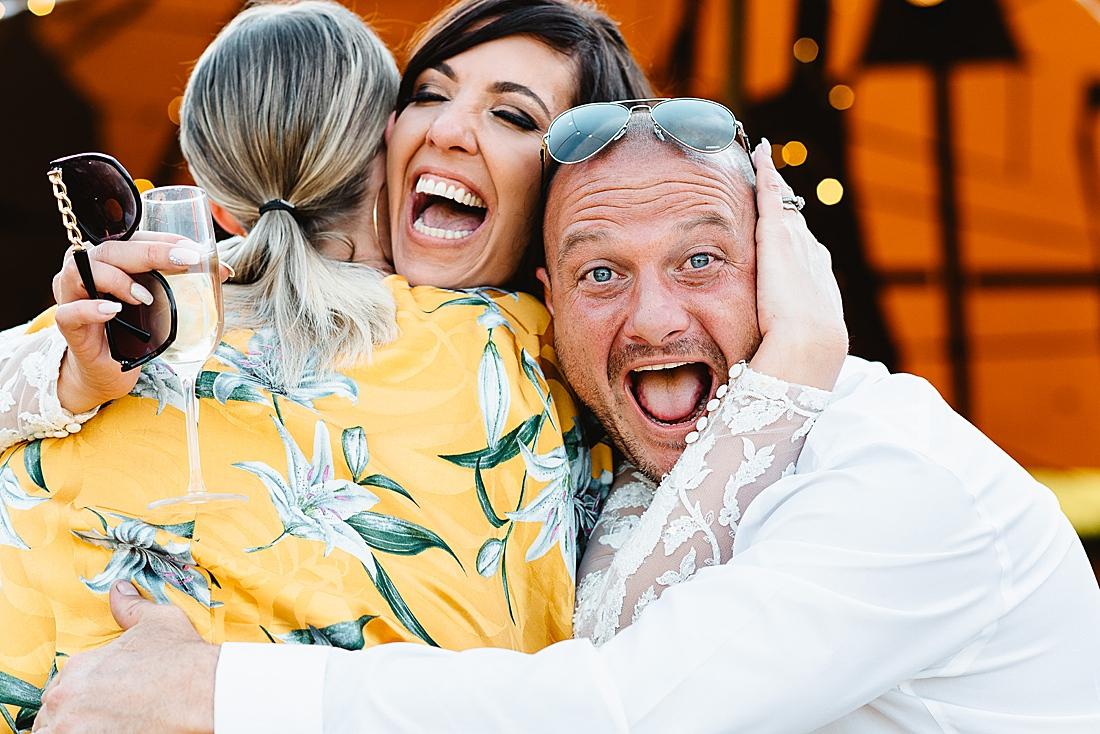 groom photobomb festival wedding Hertfordshire