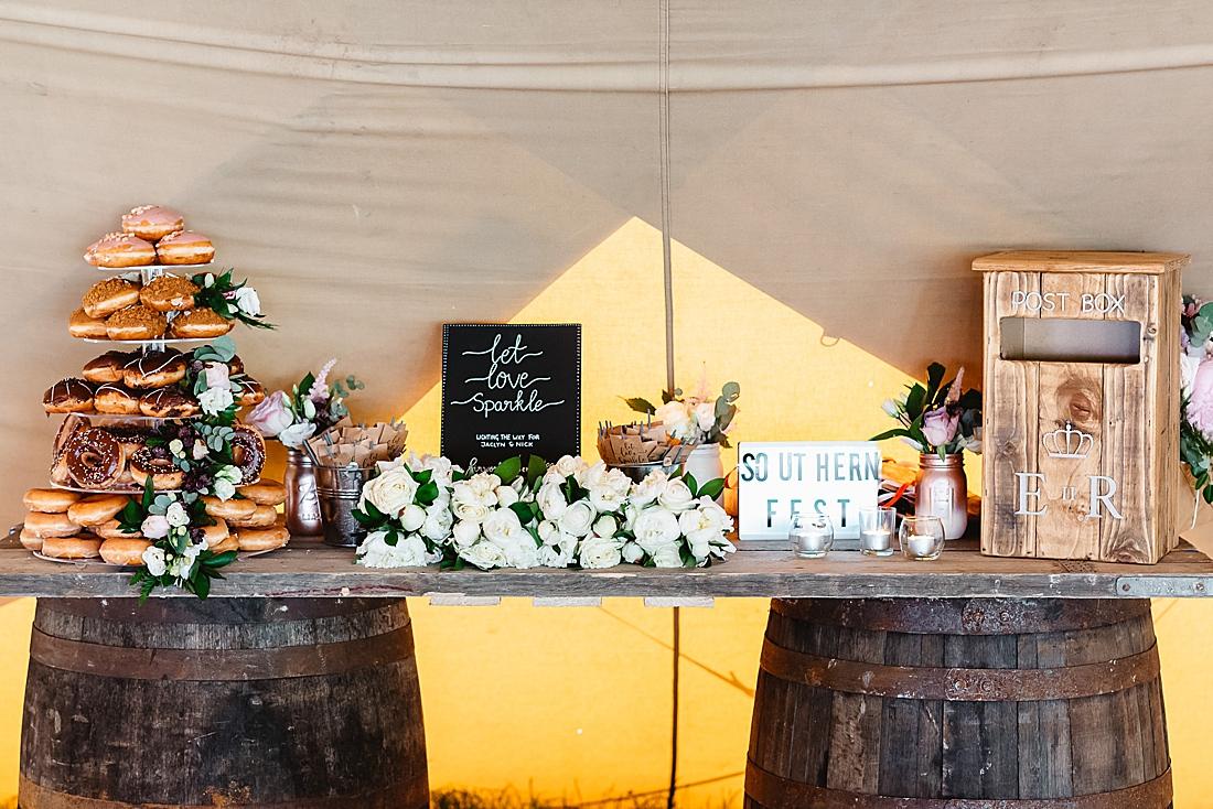 doughnut wedding cake festival wedding Hertfordshire