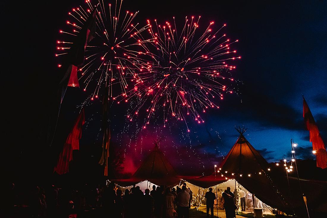 red fireworks festival wedding Hertfordshire