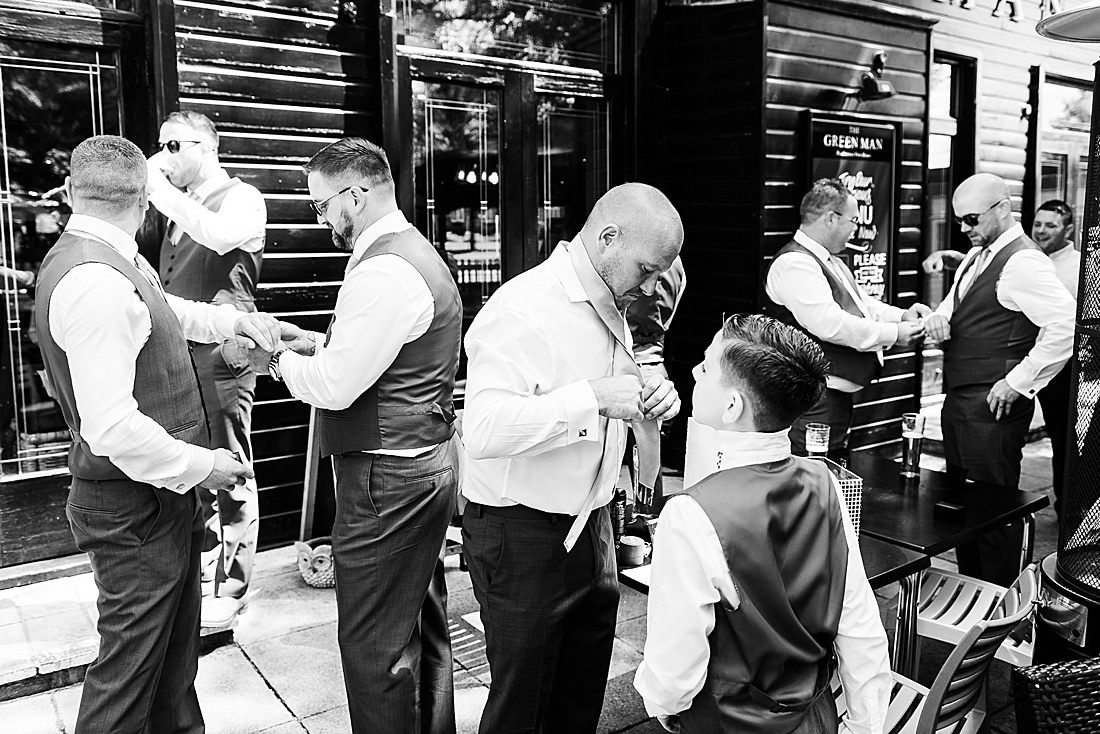 Groom and ushers get ready Hertfordshire wedding photography