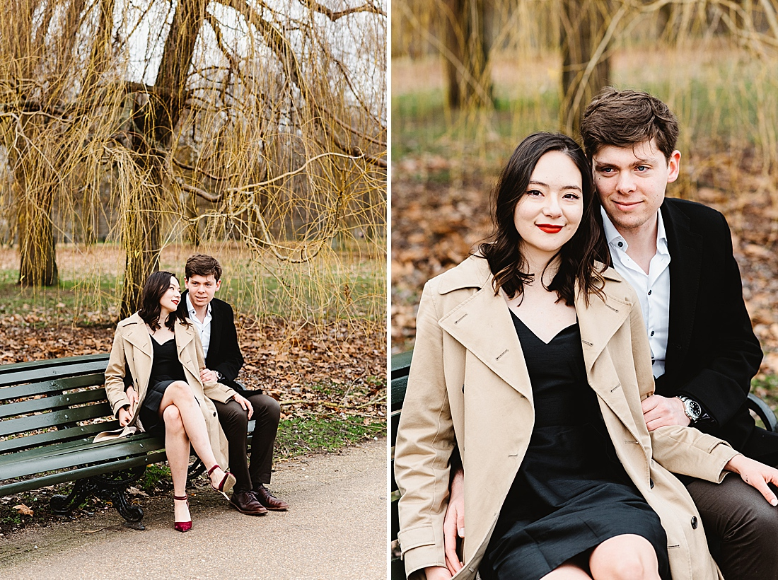 London park bench engagement photography