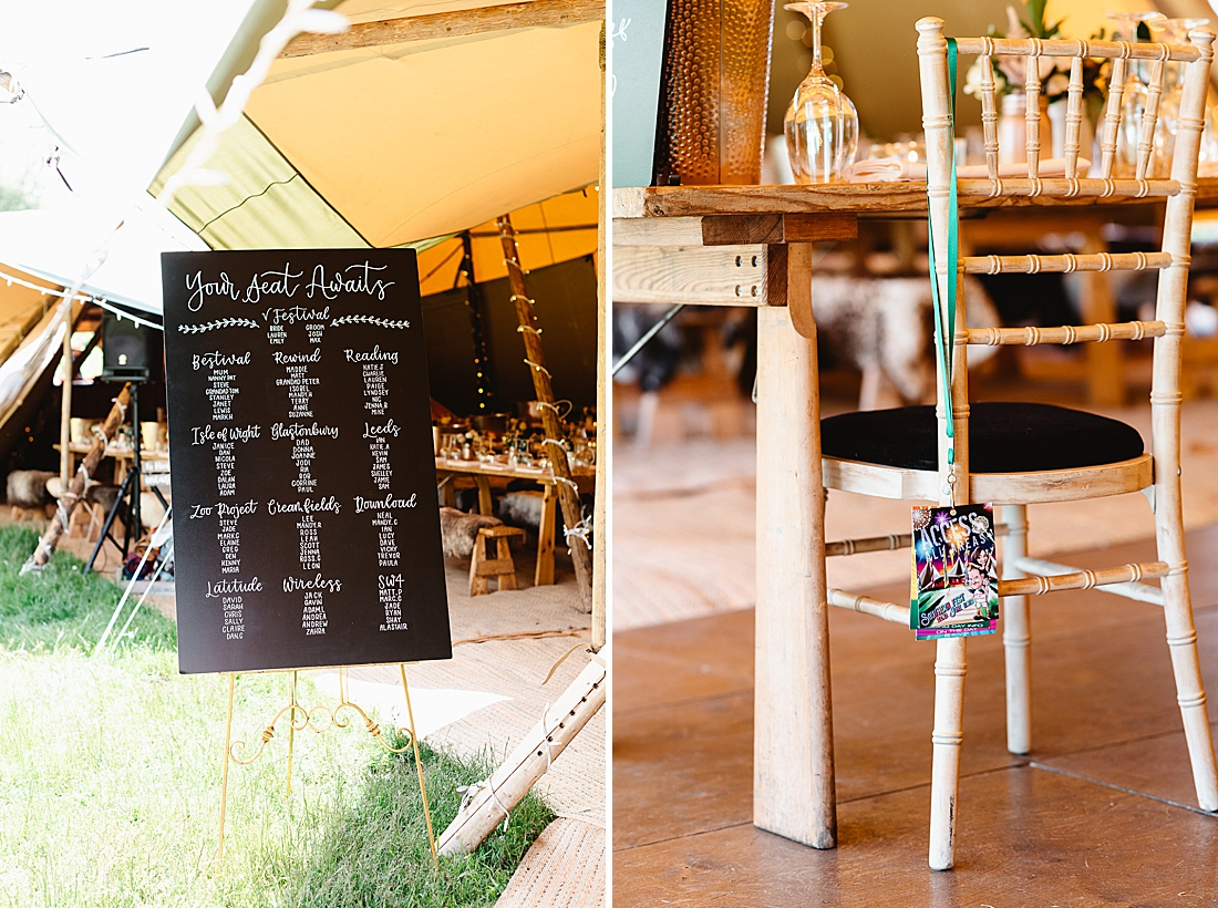wedding blackboard seating plan festival wedding Hertfordshire