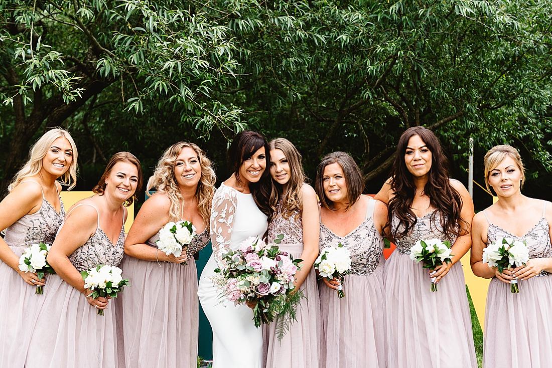 pale pink bridesmaids pronovias bride Hertfordshire