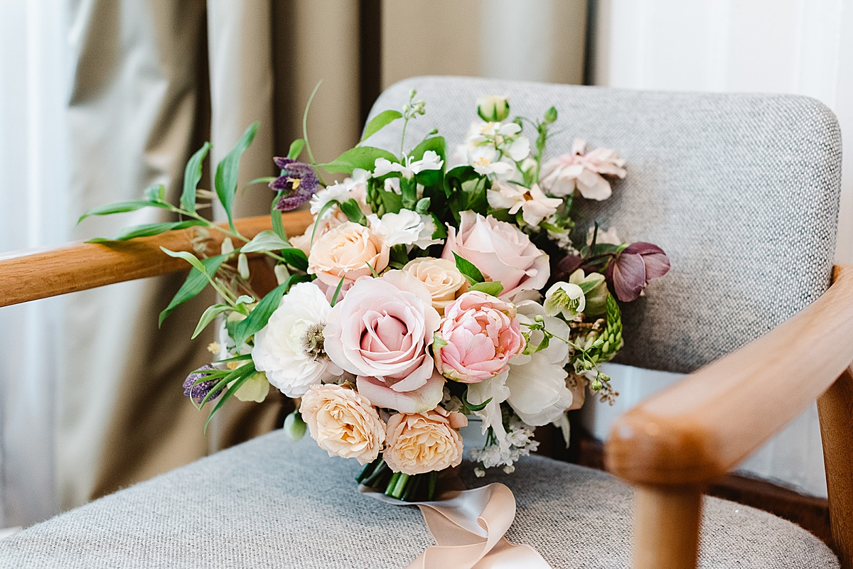 Town Hall Hotel wedding pastel pink wedding bouquet