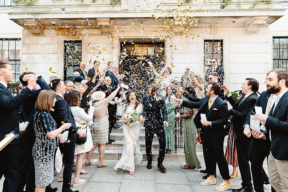 Town Hall Hotel wedding confetti Fiona Kelly Photography