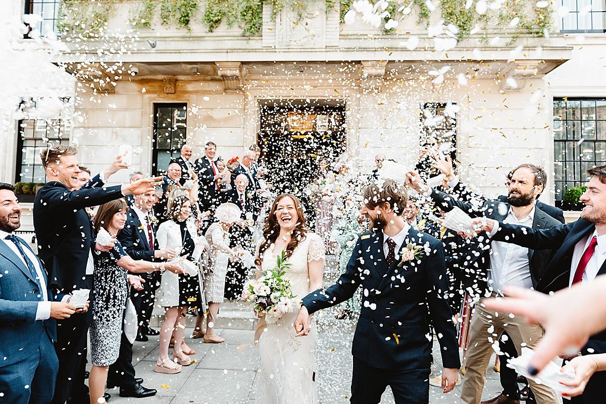 Town Hall Hotel wedding confetti fun