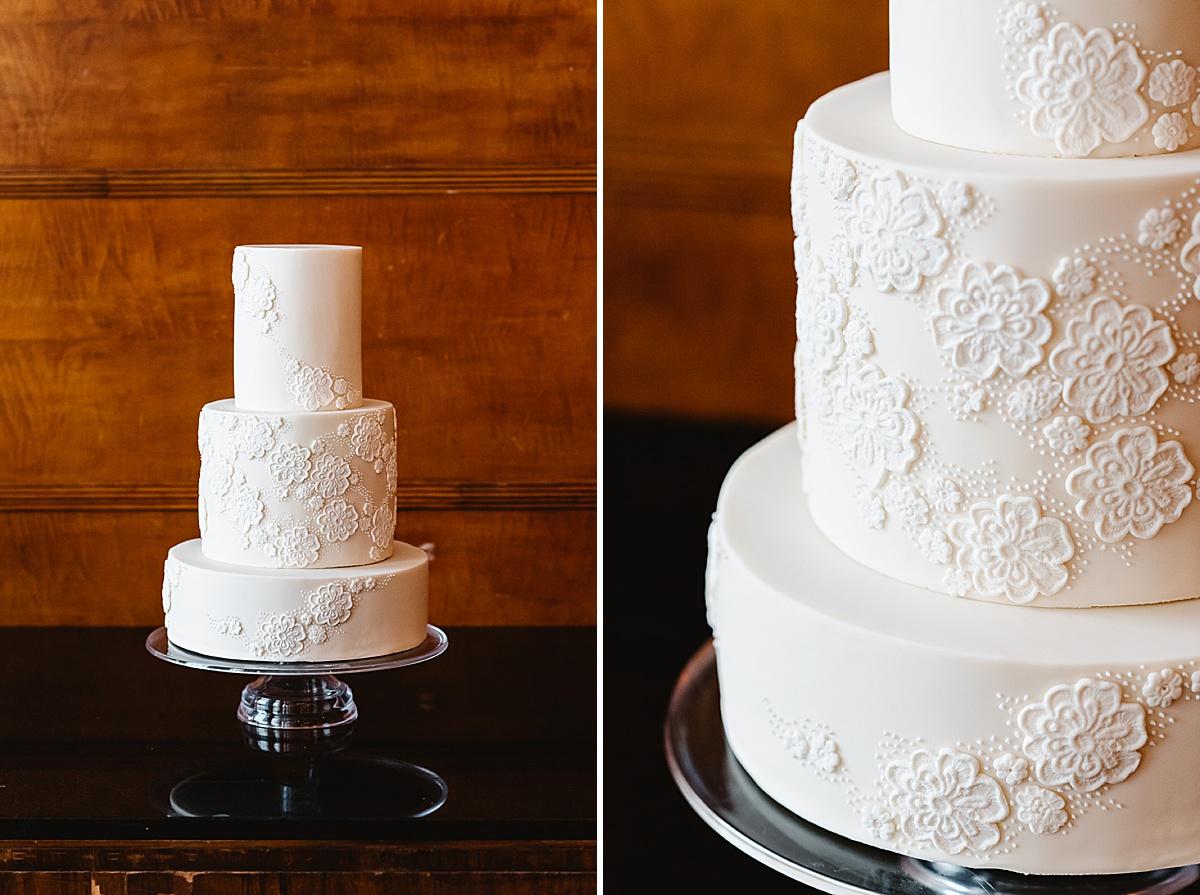 white flower wedding cake Town Hall Hotel London wedding photography