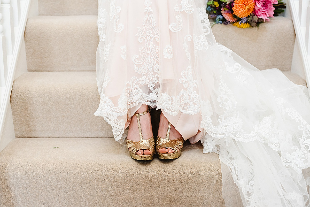 gold wedding shoes west sussex wedding photography
