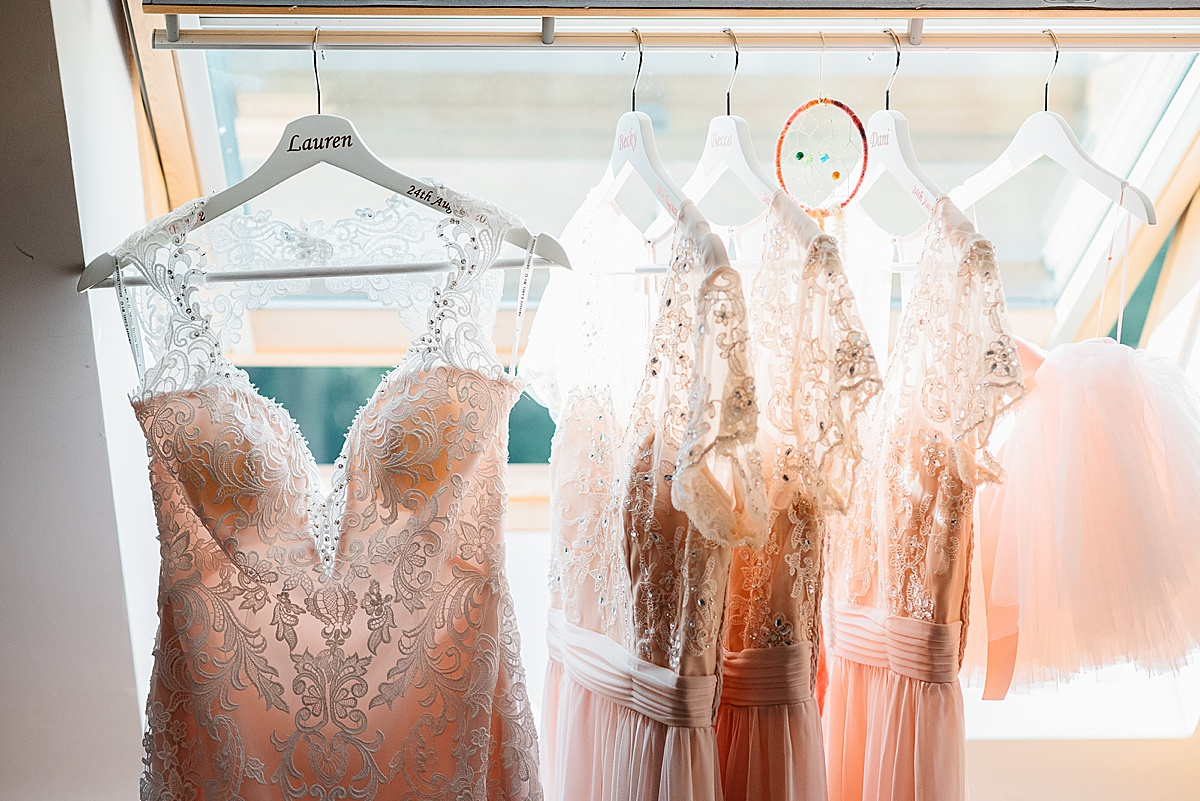 peach lace bridesmaid dresses west sussex wedding photography