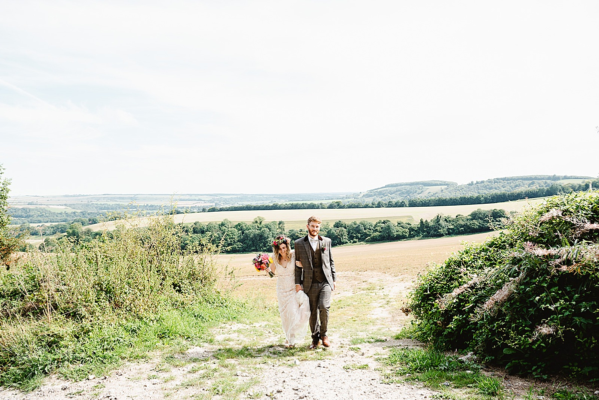west sussex wedding photography in a field