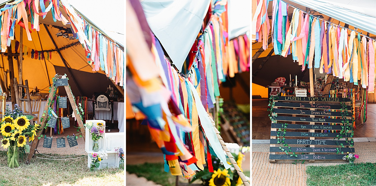 rainbow streamers festival wedding decor ideas