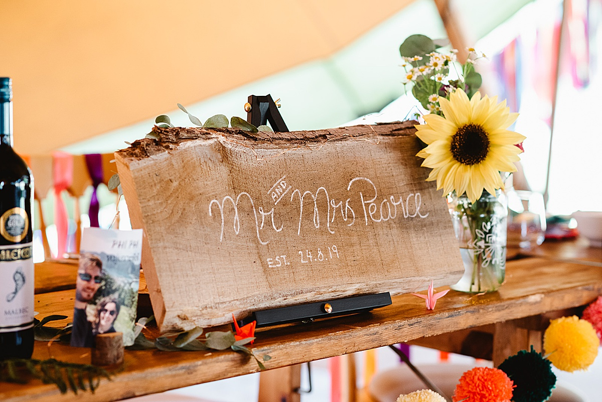 wooden wedding sign west sussex wedding photography