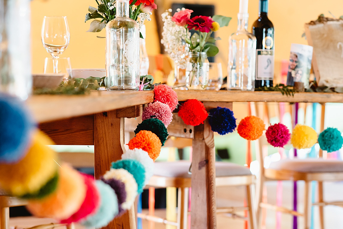 colourful pompoms west sussex wedding photography