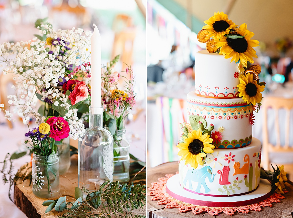 sunflower wedding cake west sussex wedding photography